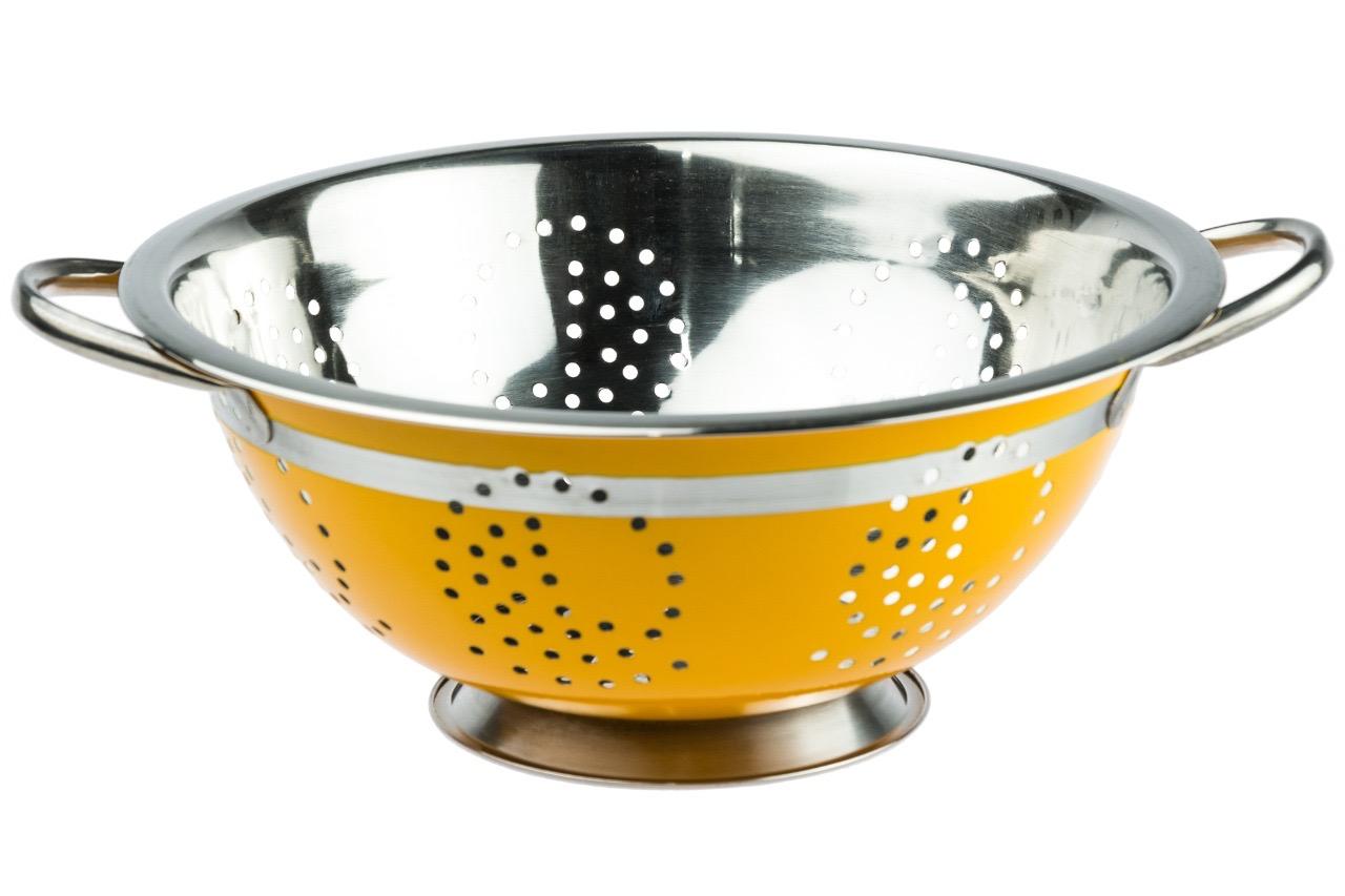 Escorredor de Massa Aço Inox Colorido 24 Cm - Amarelo