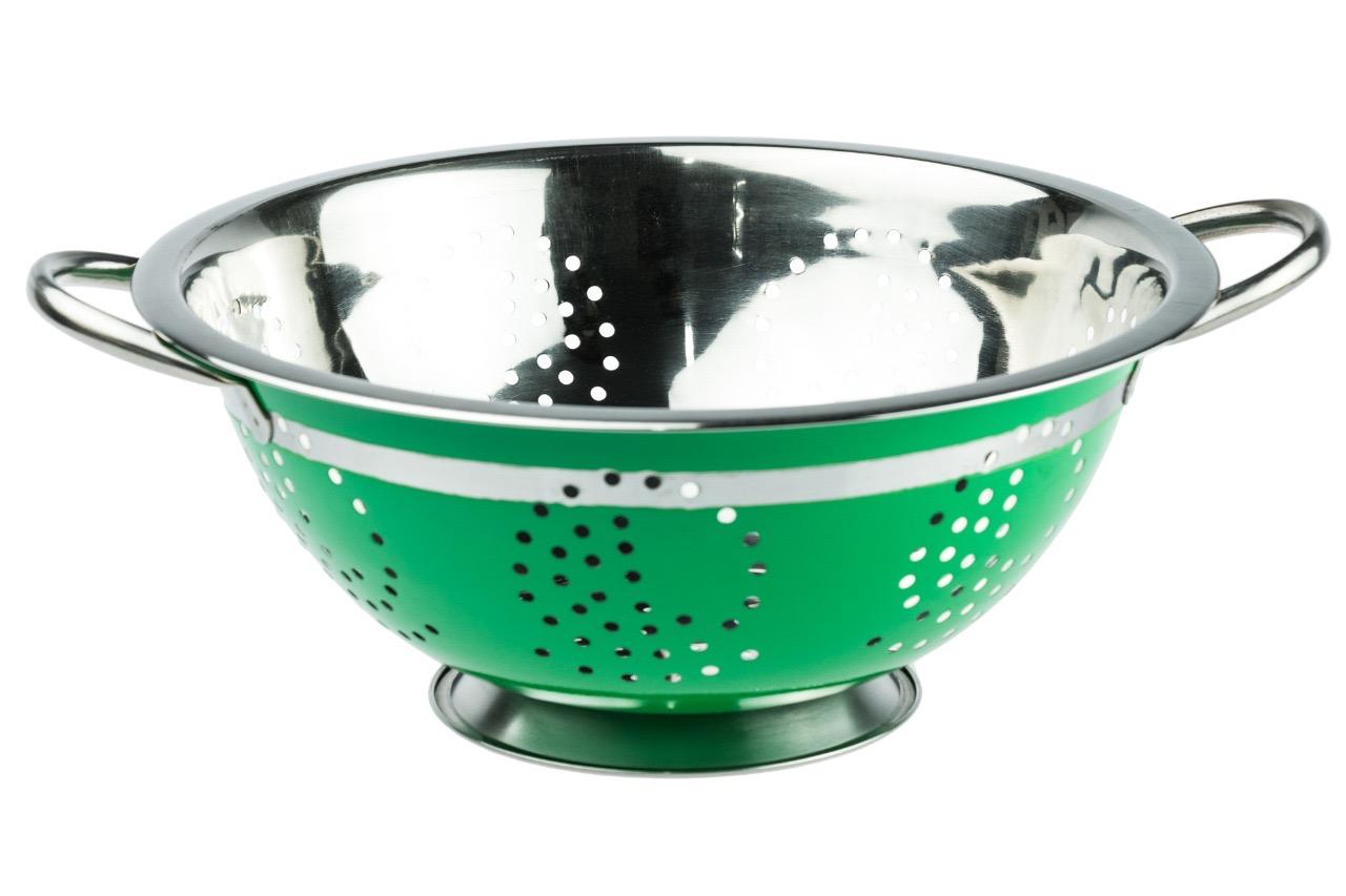 Escorredor de Massa Aço Inox Colorido 24 Cm - Verde