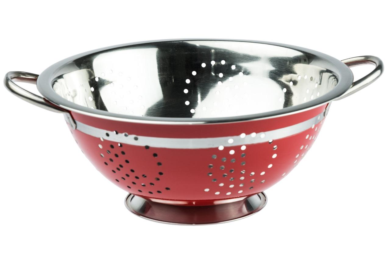 Escorredor de Massa Aço Inox Colorido 24 Cm - Vermelho
