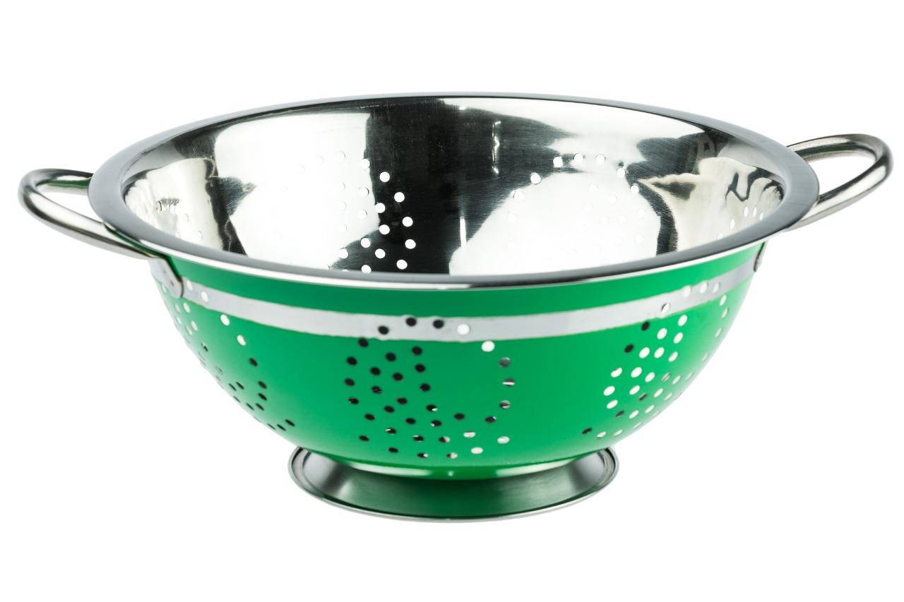 Escorredor de Massa Aço Inox Colorido 28 Cm - Verde