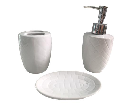 Kit/Jogo Banheiro Cerâmica Saboneteira Escova-Redondo