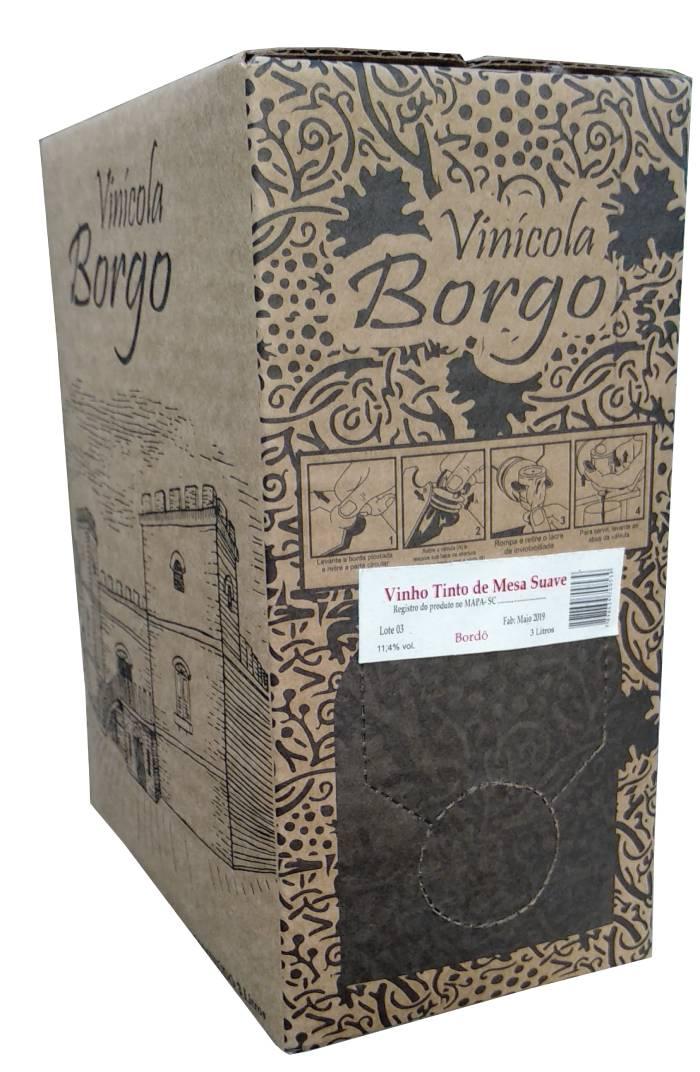 Vinho Tinto Suave Bordô 3L Bag-in-Box