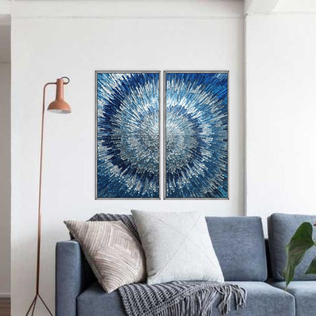 Composição com 2 Quadros Decorativos Azul Geométrico