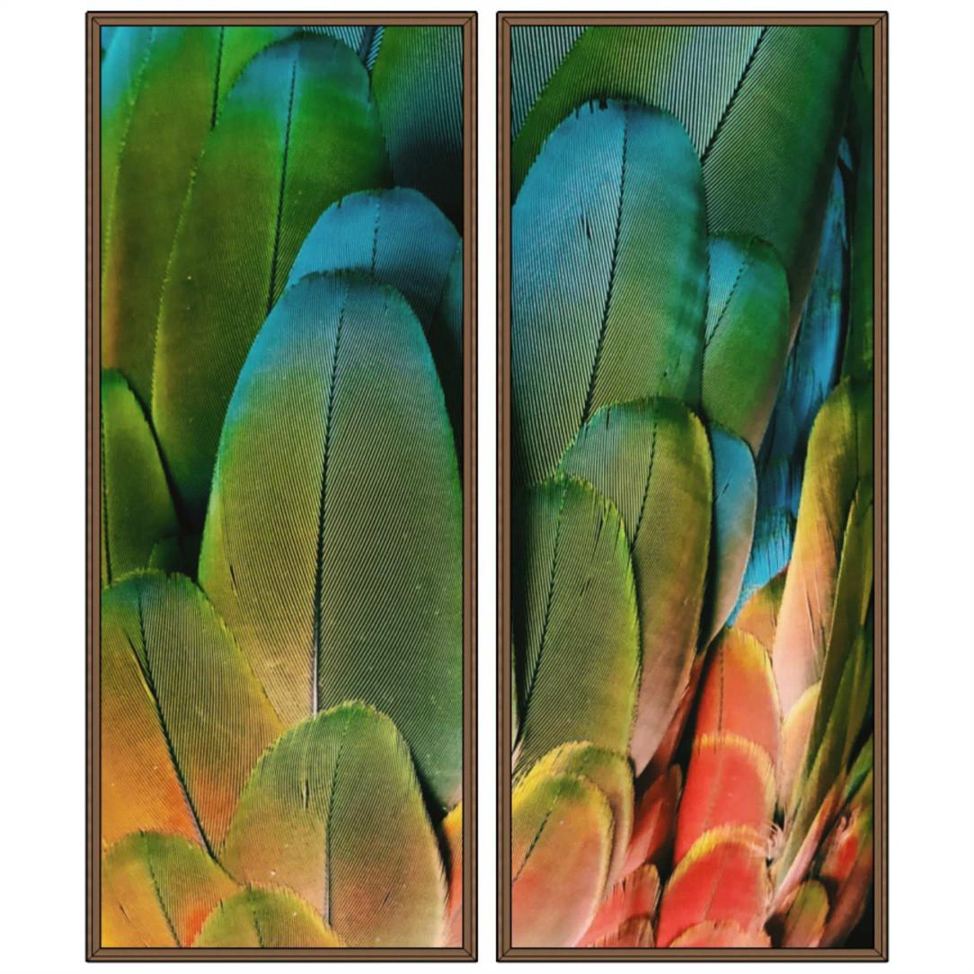 Composição com 2 Quadros Decorativos com Penas de Arara