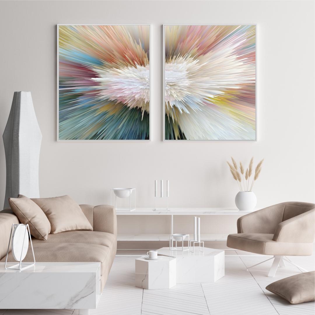 Composição com 2 Quadros Decorativos Abstrato Colorido Efeito Profundidade