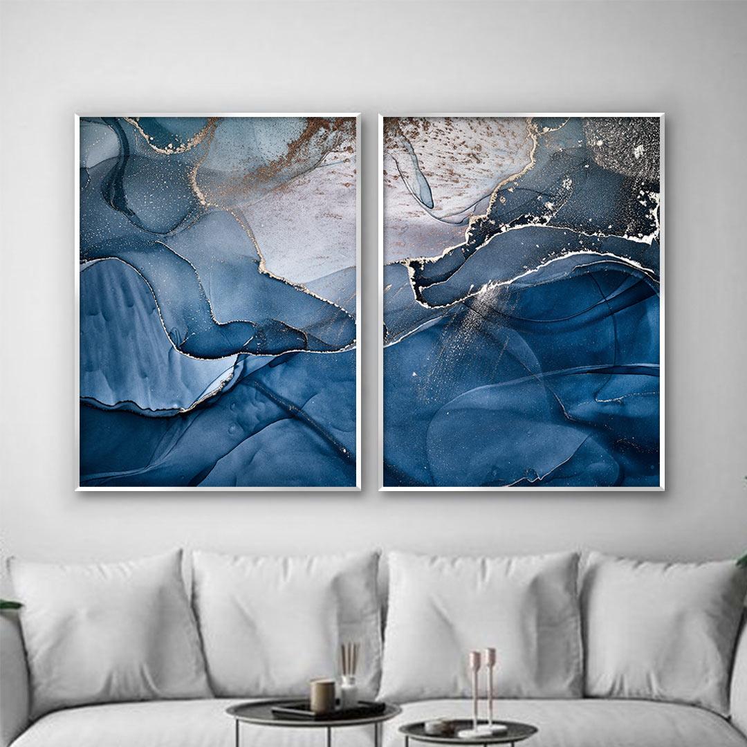 Composição com 2 Quadros Decorativos Abstrato Marmorizado Azul