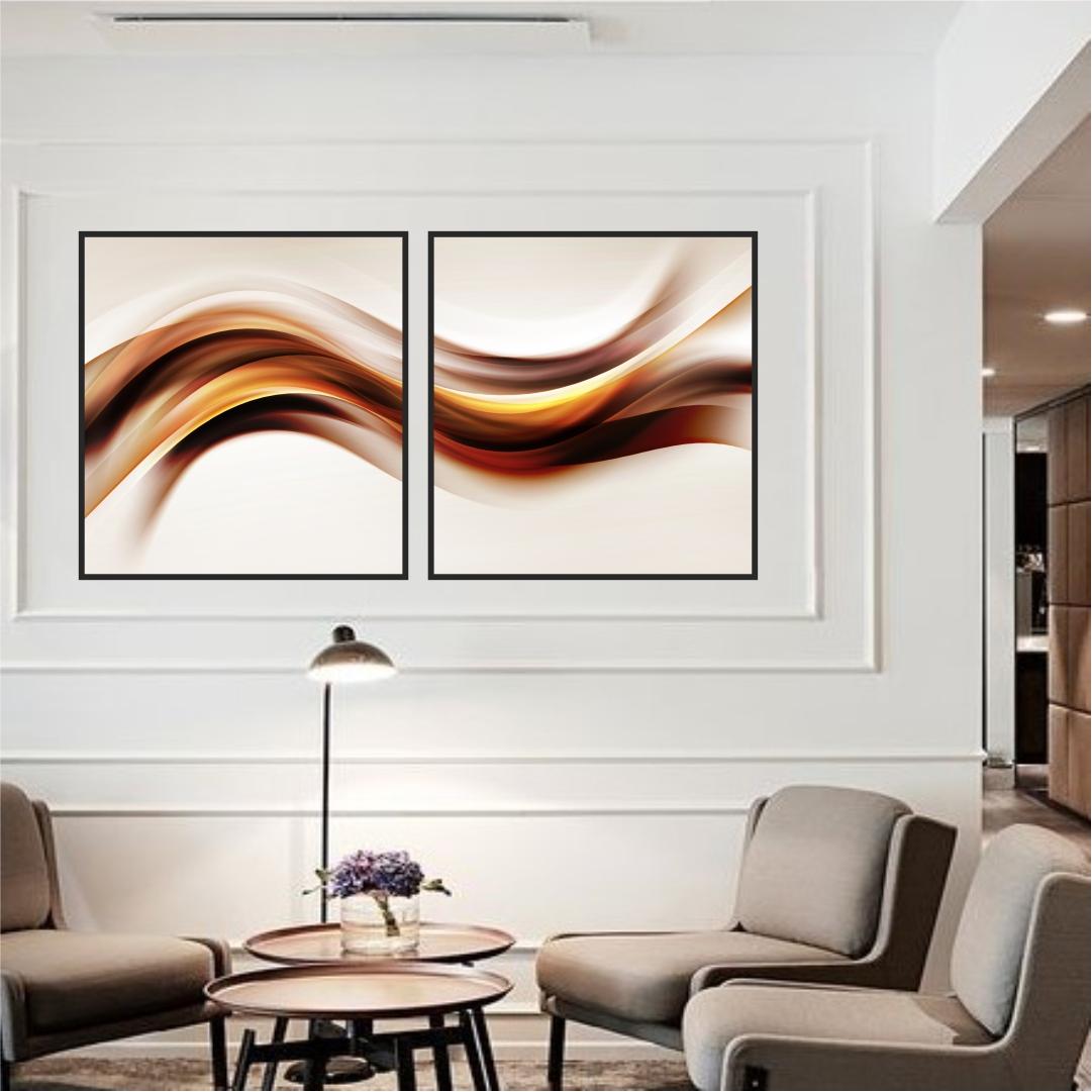Composição com 2 Quadros Decorativos Abstrato Marmorizado em Tons de Marrom e Dourado