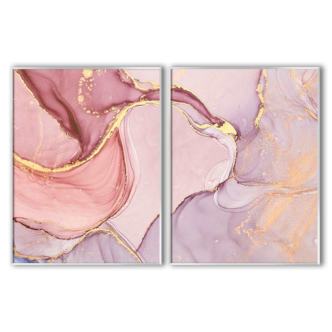 Composição com 2 Quadros Decorativos Abstrato Marmorizado em Tons de Rosê