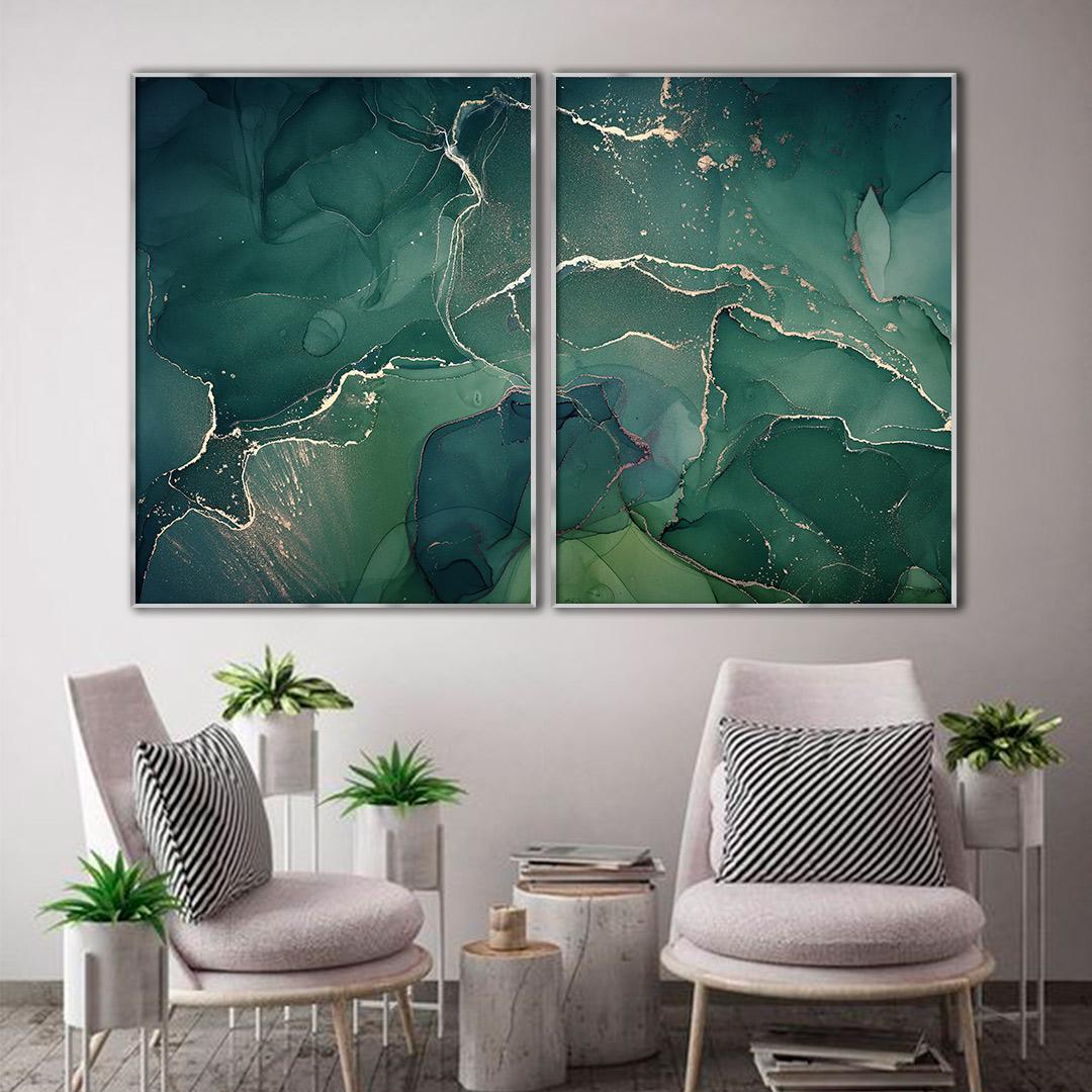 Composição com 2 Quadros Decorativos Abstrato Marmorizado Verde