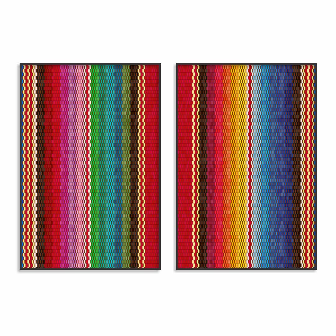 Composição com 2 Quadros Decorativos Abstratos Coloridos