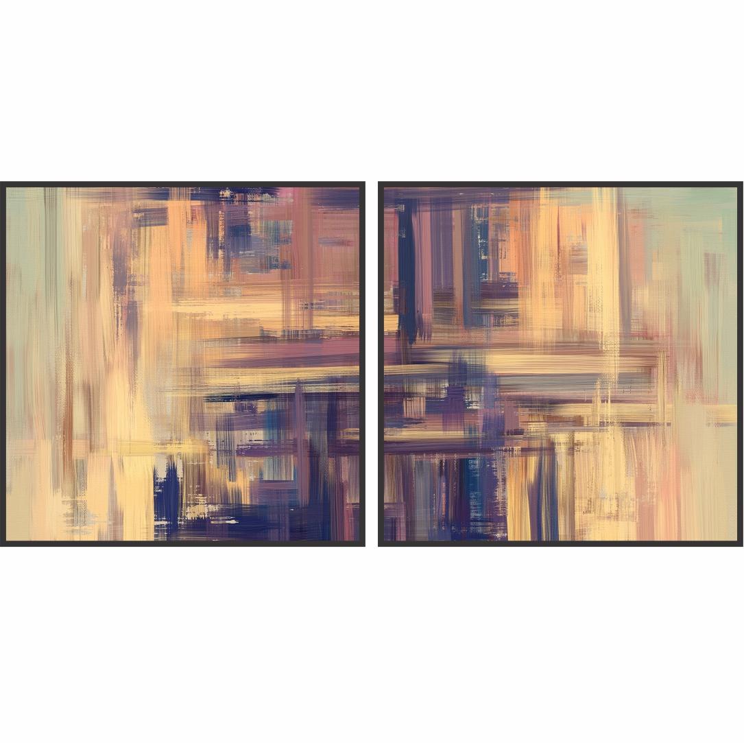 Composição com 2 Quadros Decorativos Abstratos com Pintura em Tons de Verde e Roxo