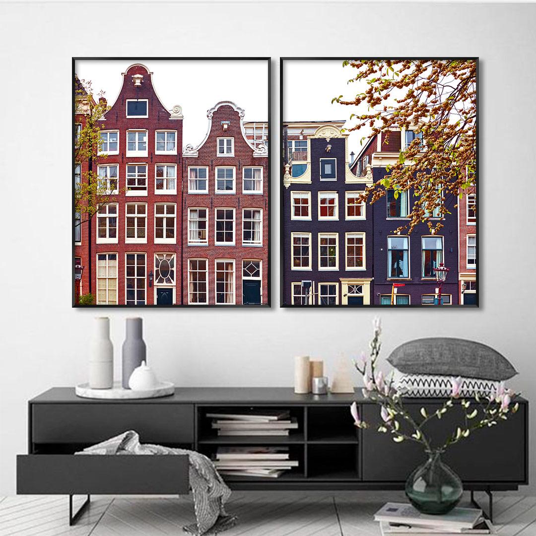 Composição com 2 Quadros Decorativos com Fotografia Arquitetônica de Amsterdam