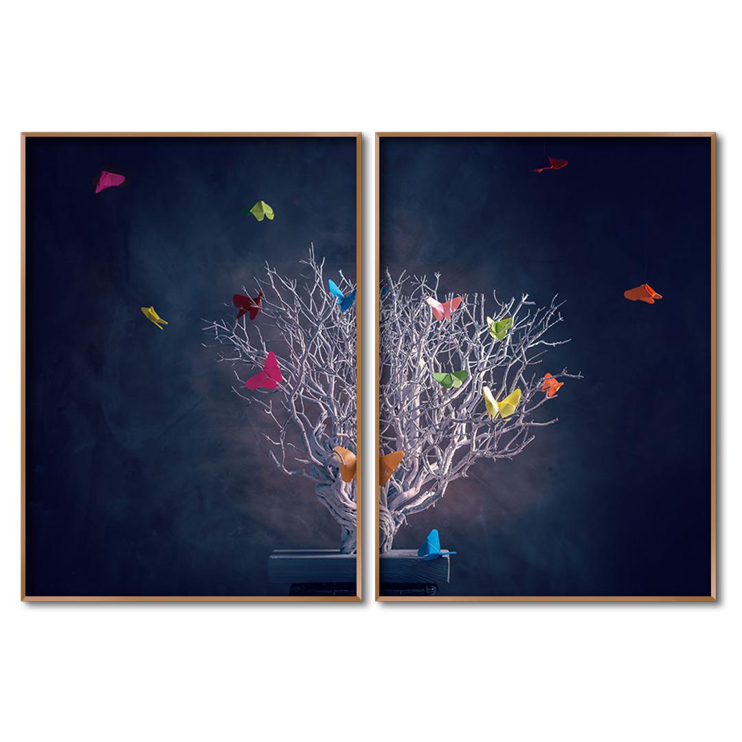 Composição com 2 Quadros Decorativos Árvore e Voo de Borboletas