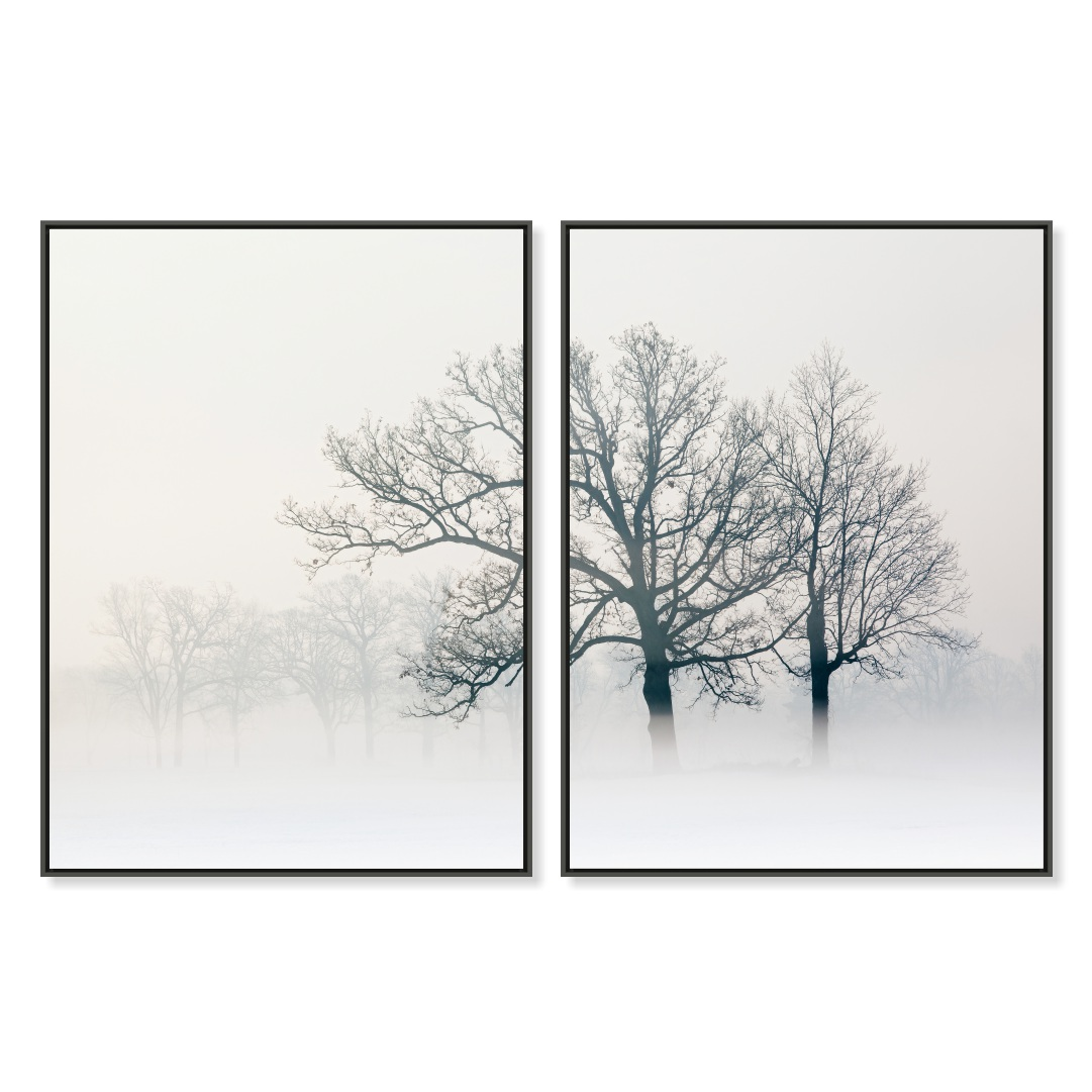 Composição com 2 Quadros Decorativos com Árvore em Preto e Branco