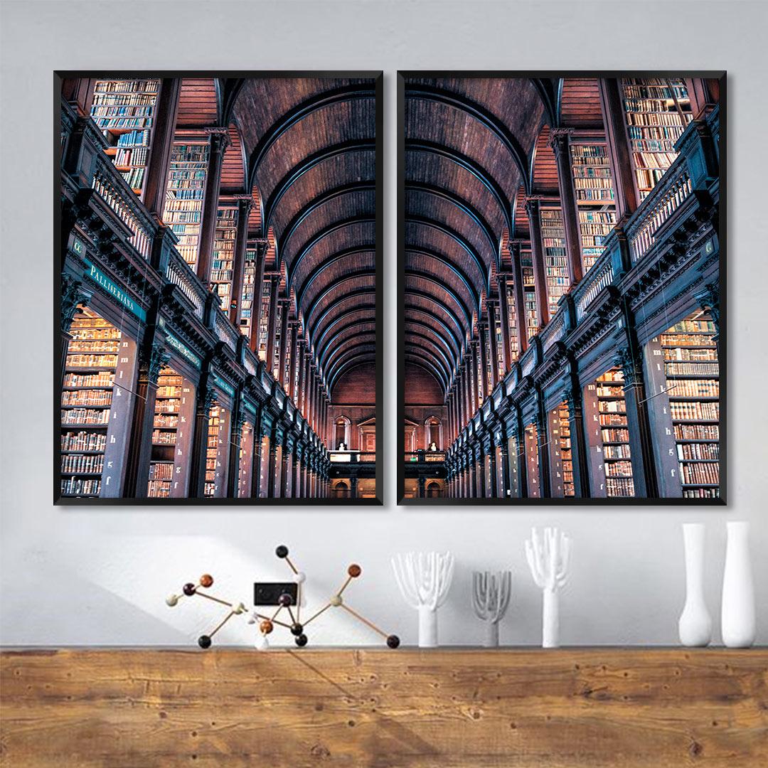 Composição com 2 Quadros Decorativos com Fotografia da Biblioteca de Trinity - Dublin/Irlanda