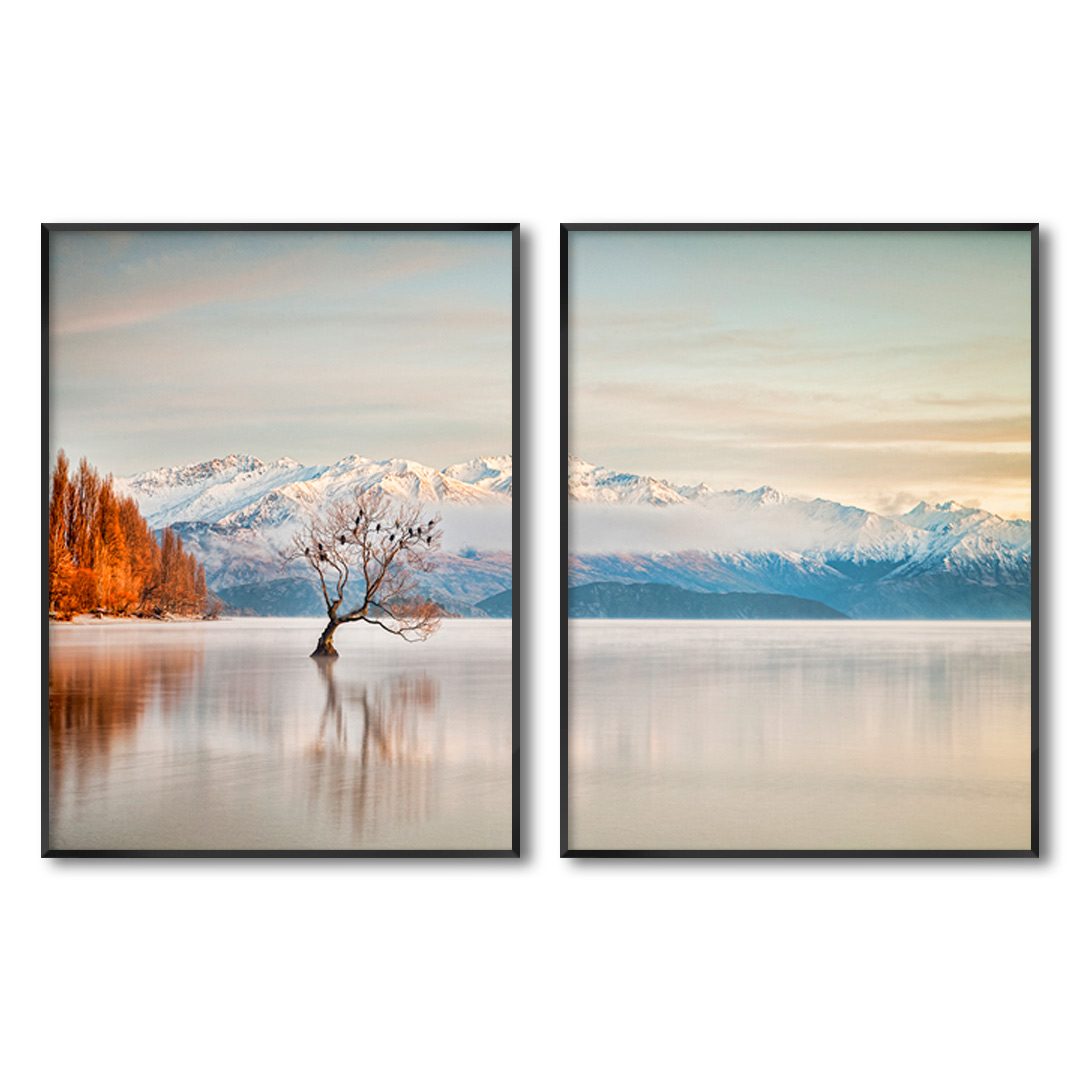 Composição com 2 Quadros Decorativos com Imagem de Lago e Montanhas com Neve