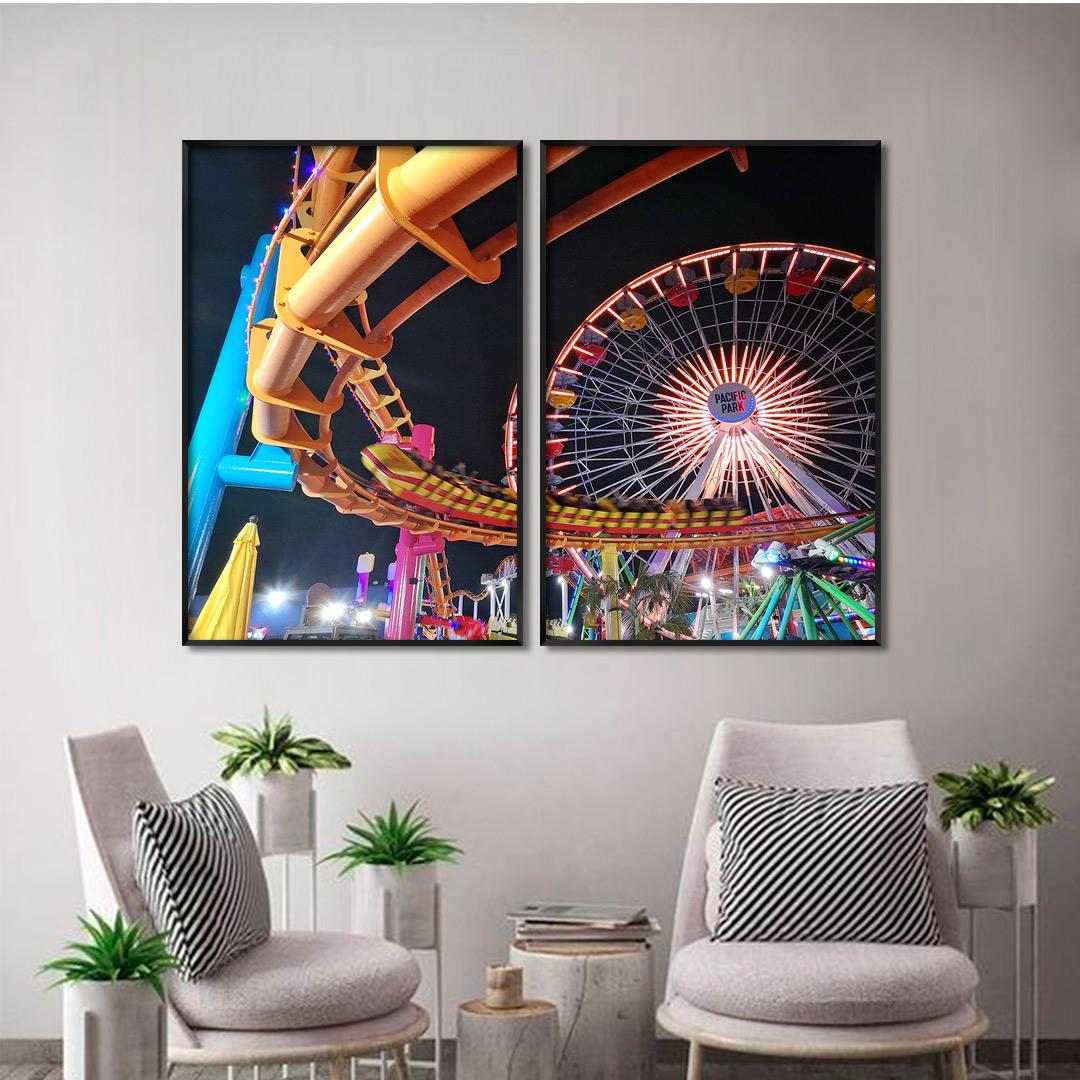 Composição com 2 Quadros Decorativos com Fotografia de Parque de Diversões