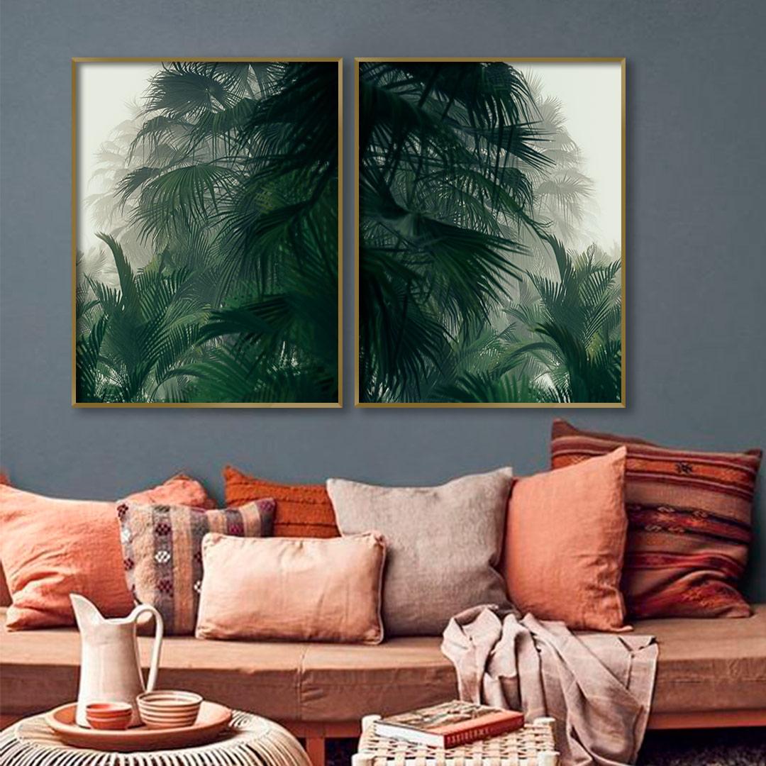 Composição com 2 Quadros Decorativos com Folhas Verdes