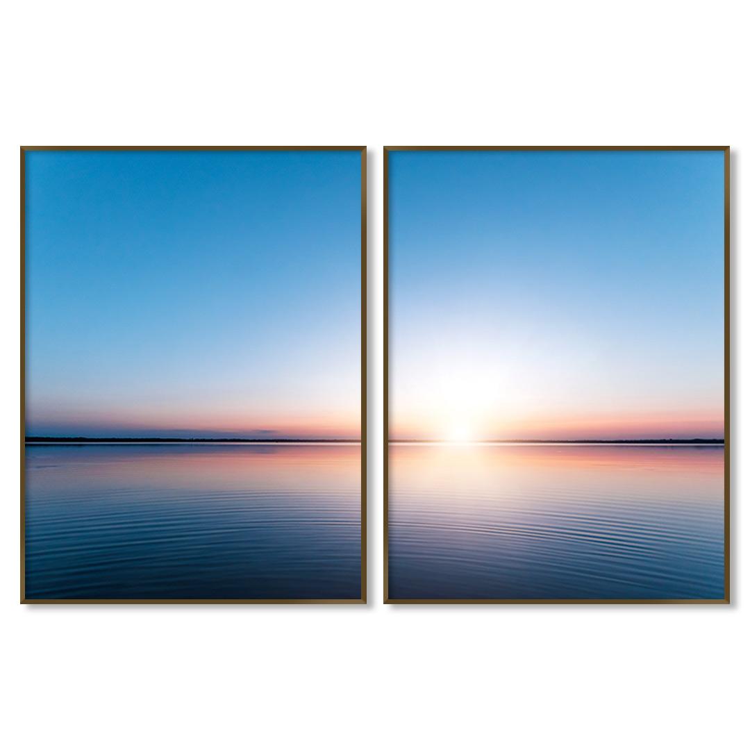Composição com 2 Quadros Decorativos com Fotografia de Amanhecer no Lago