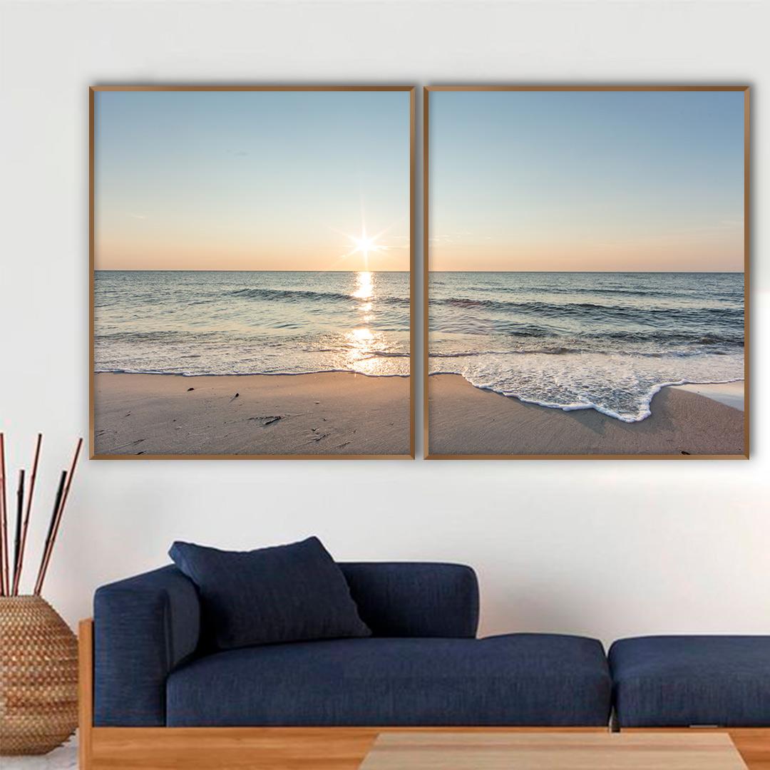 Composição com 2 Quadros Decorativos Paisagem de Pôr do Sol na Praia