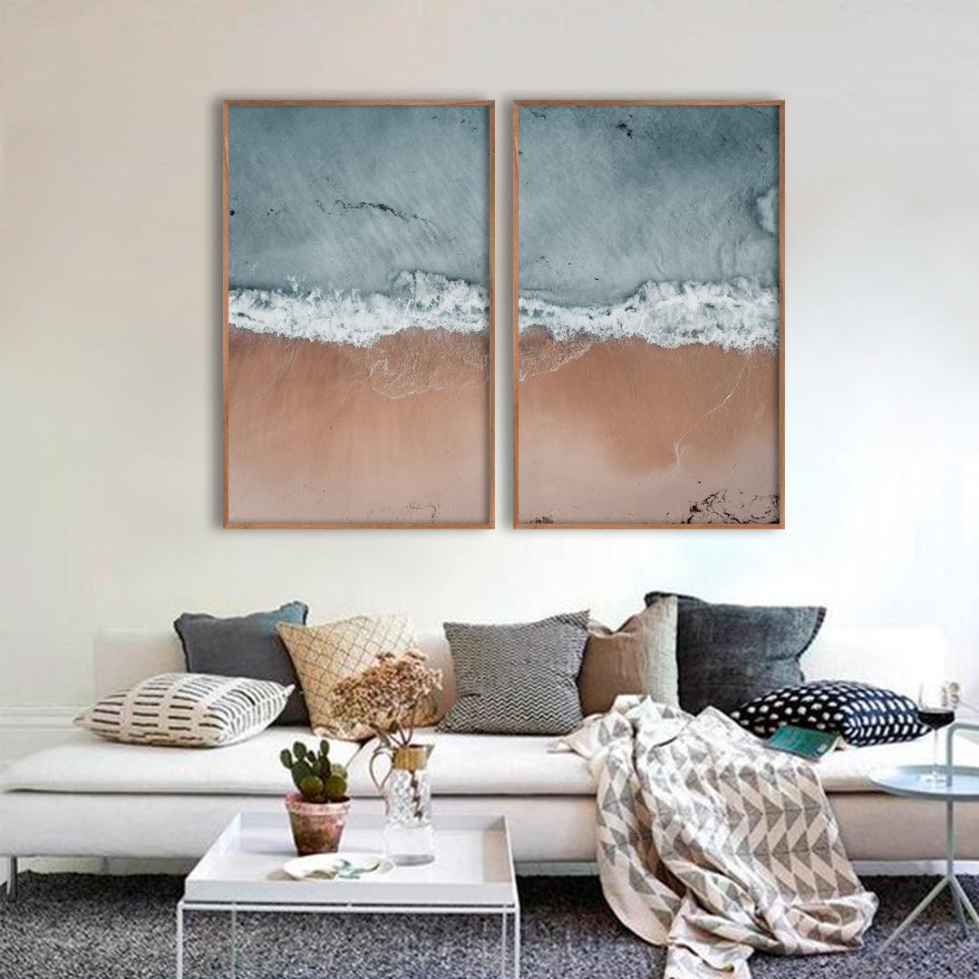 Composição com 2 Quadros Decorativos com Paisagem de Praia