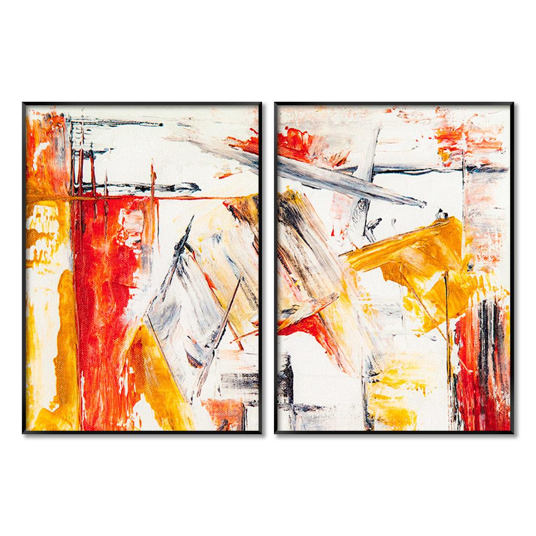 Composição com 2 Quadros Decorativos com Pintura Abstrata em Tons de Amarelo e Laranja