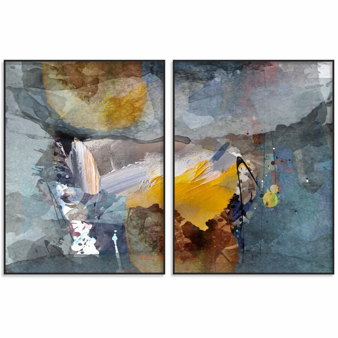 Composição com 2 Quadros Decorativos com Pintura Abstrata em Tons de Azul e Amarelo