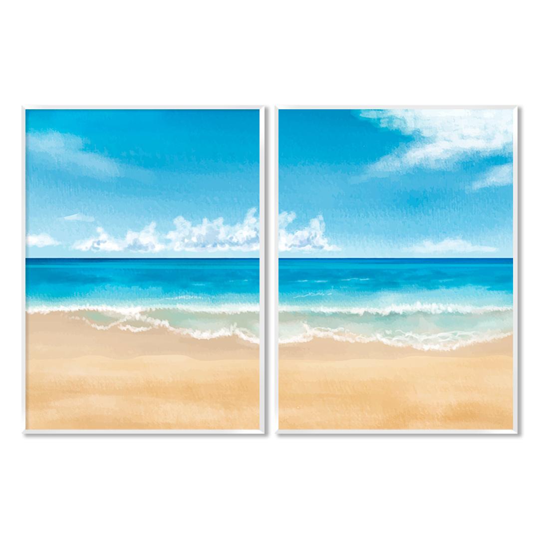 Composição com 2 Quadros Decorativos com Pintura de Mar e Praia