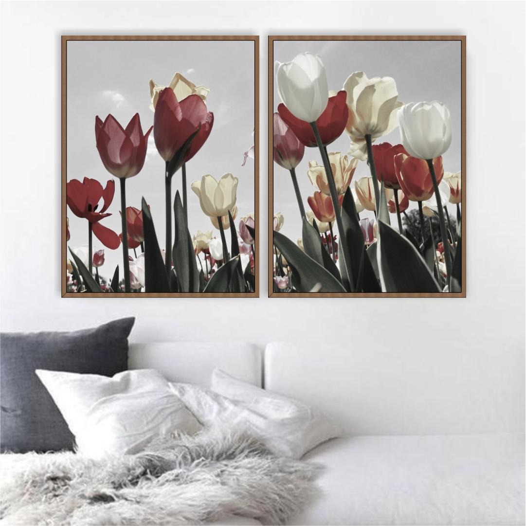 Composição com 2 Quadros Decorativos com Tulipas Vermelhas