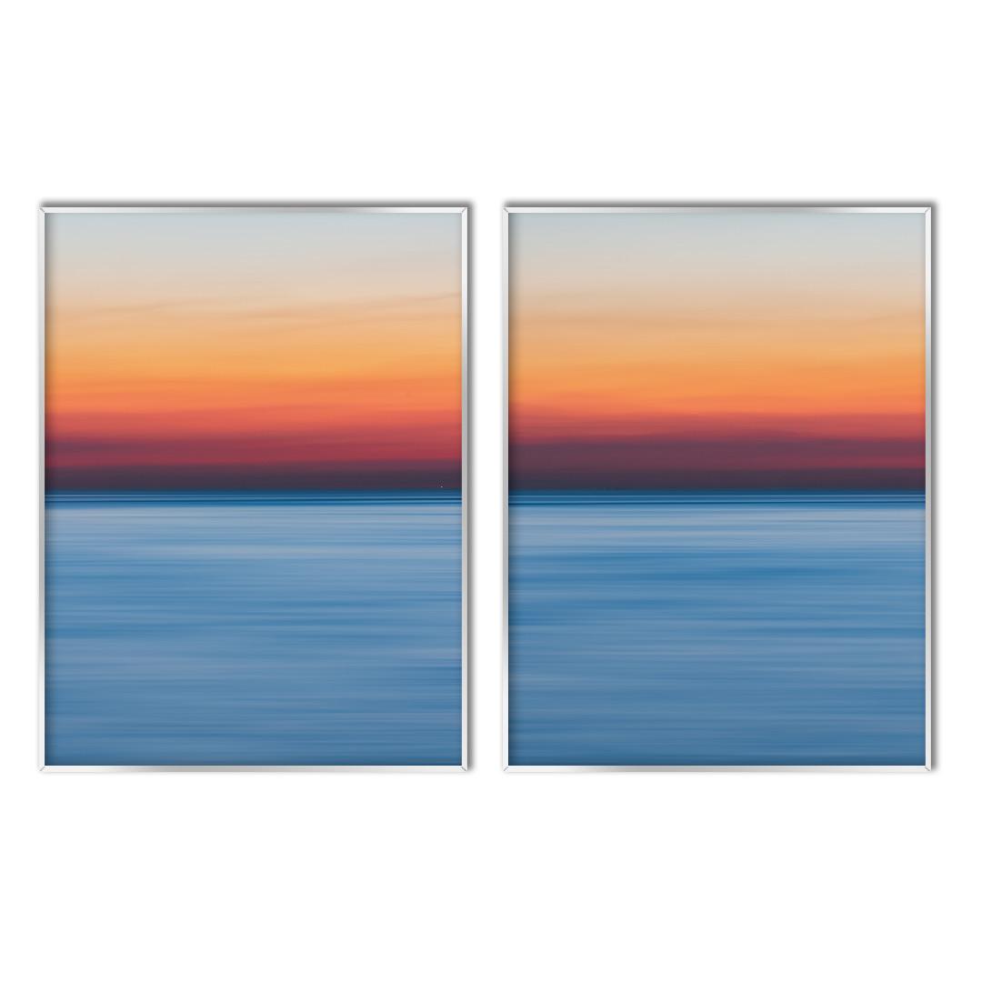 Composição com 2 Quadros Decorativos de Mar com Pôr do Sol Abstrato