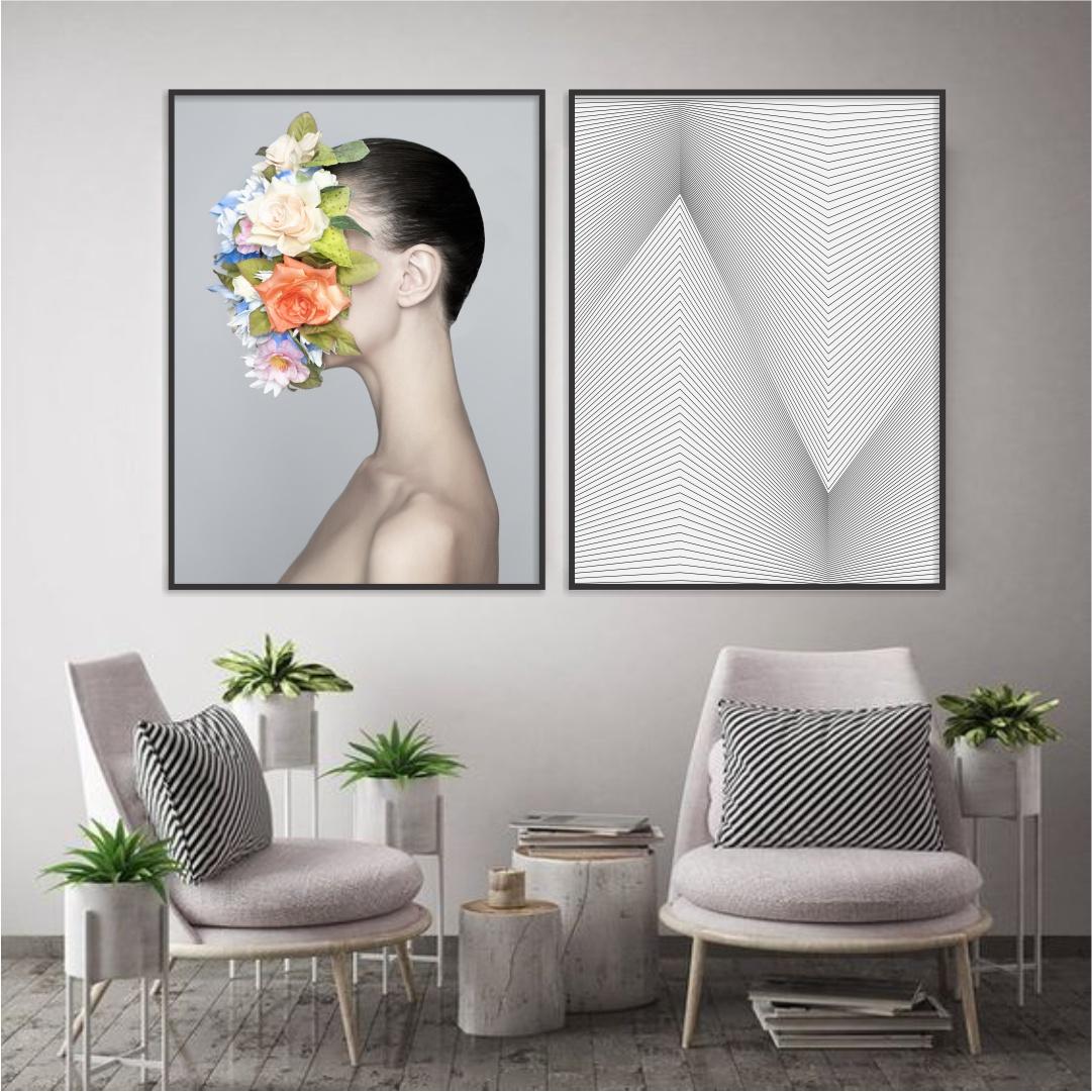 Composição com 2 Quadros Decorativos de Mulher com Arranjo de Flores e Geométrico Preto e Branco