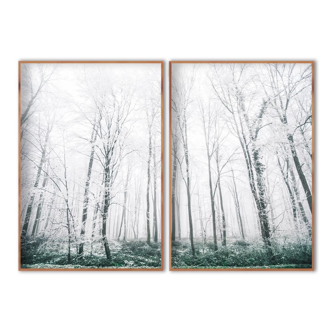 Composição com 2 Quadros Decorativos de Paisagem com Árvores