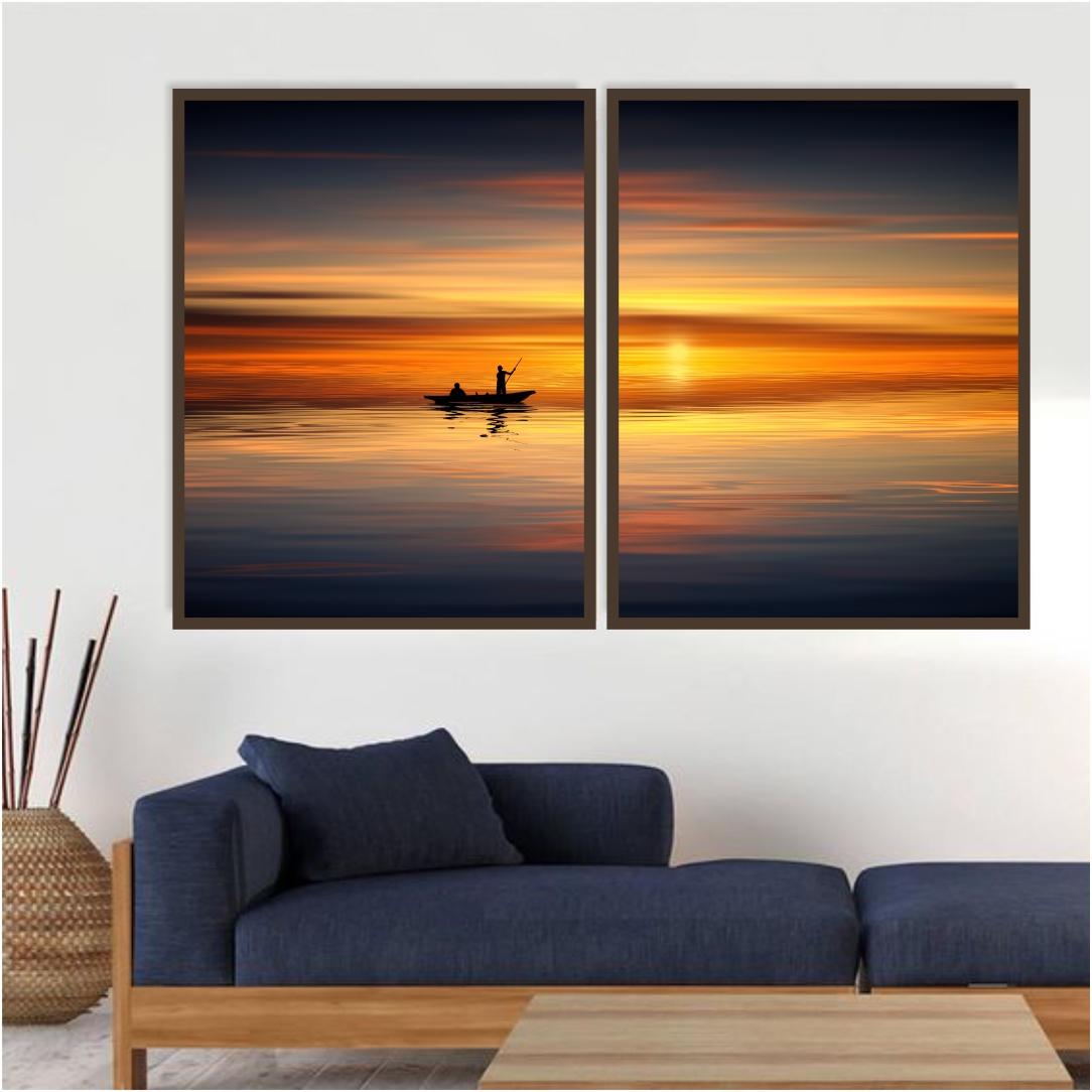 Composição com 2 Quadros Decorativos de Pescador com Pôr do Sol