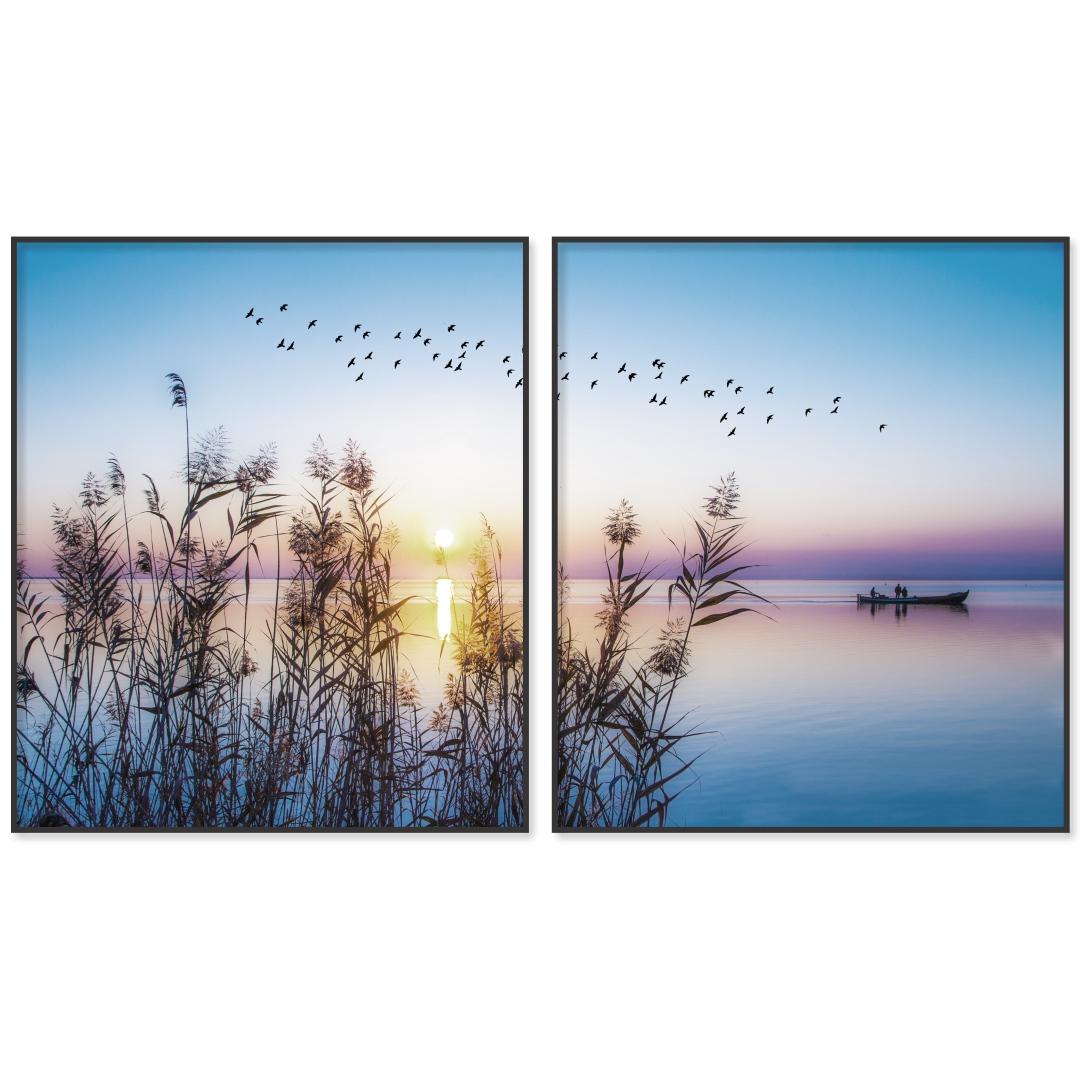 Composição com 2 Quadros Decorativos de Pôr do Sol com Banco de Pescador e Pássaros