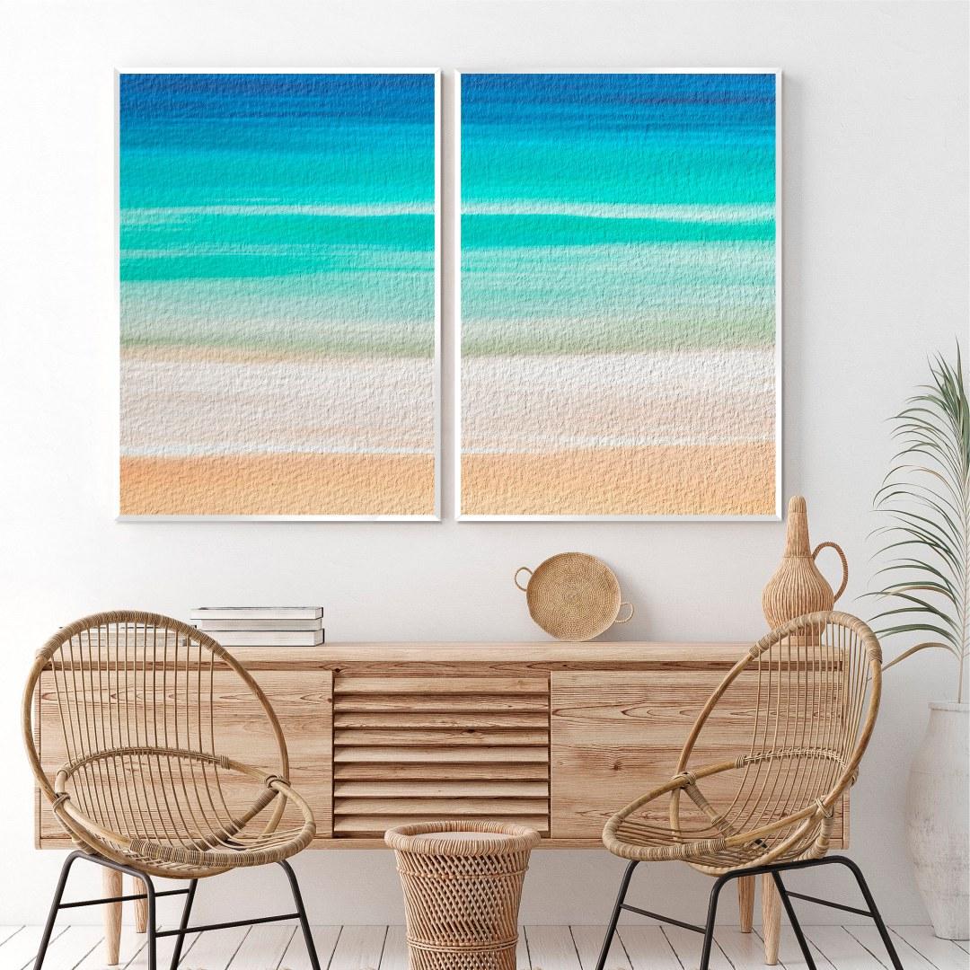 Composição com 2 Quadros Decorativos de Praia e Mar Abstrato