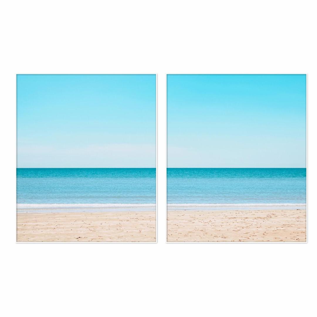 Composição com 2 Quadros Decorativos de Mar e Praia