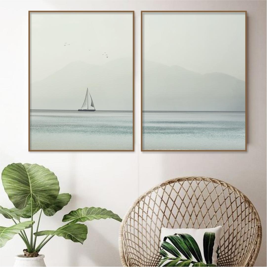 Composição com 2 Quadros Decorativos de Veleiro no Mar