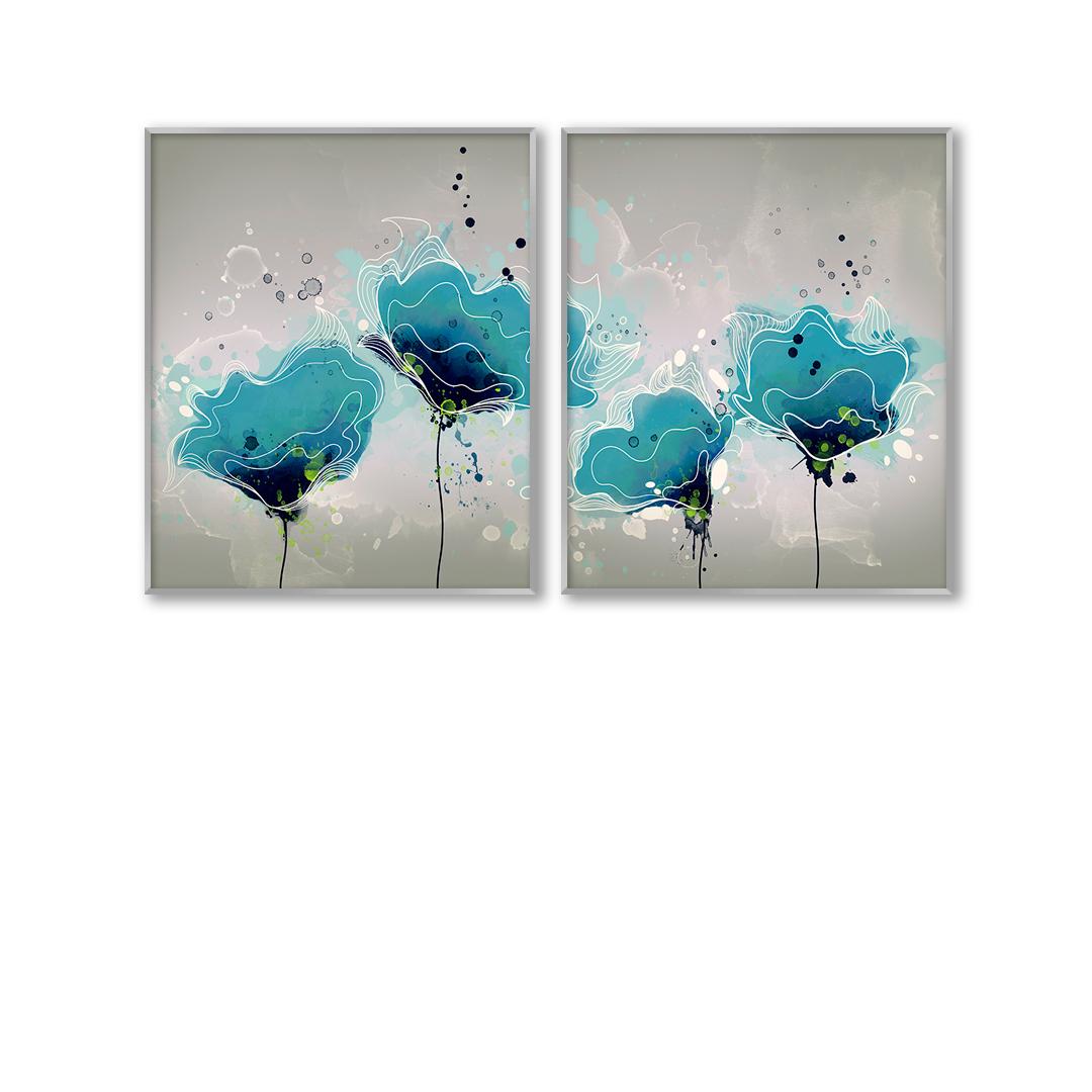 Composição com 2 Quadros Decorativos Floral em Aquarela