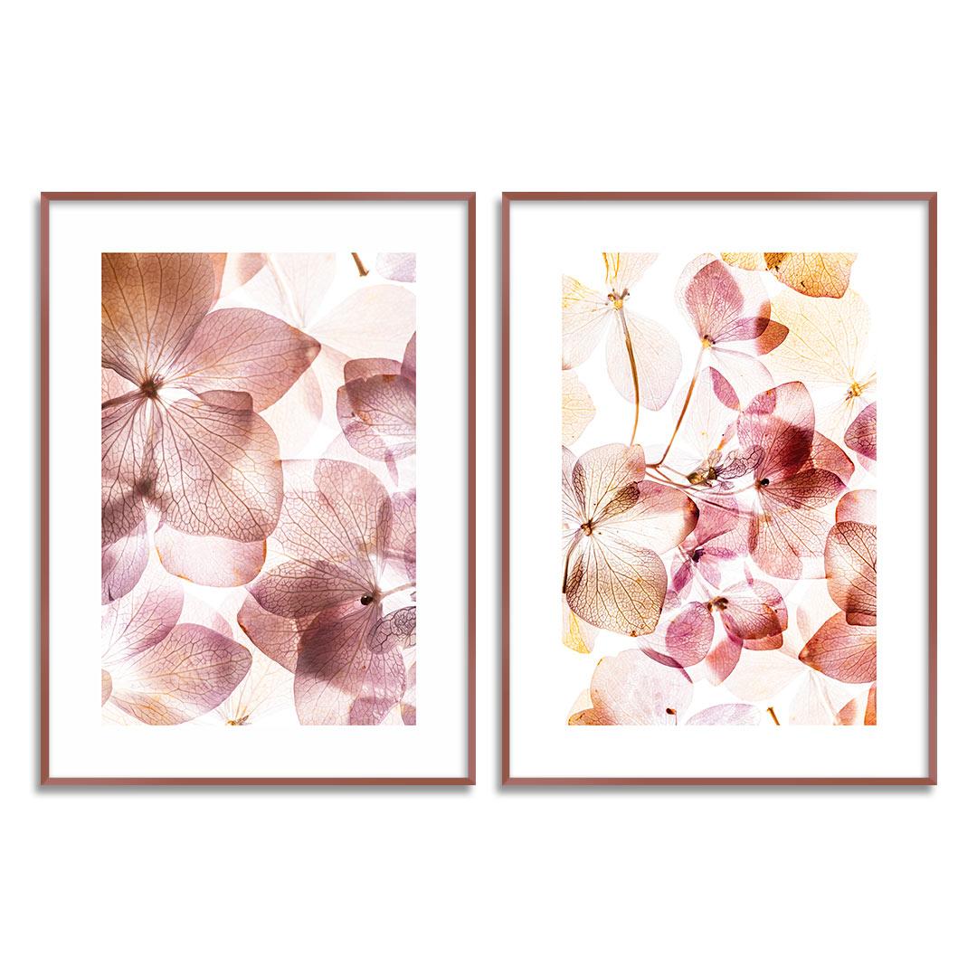 Composição com 2 Quadros Decorativos Floral Rosê