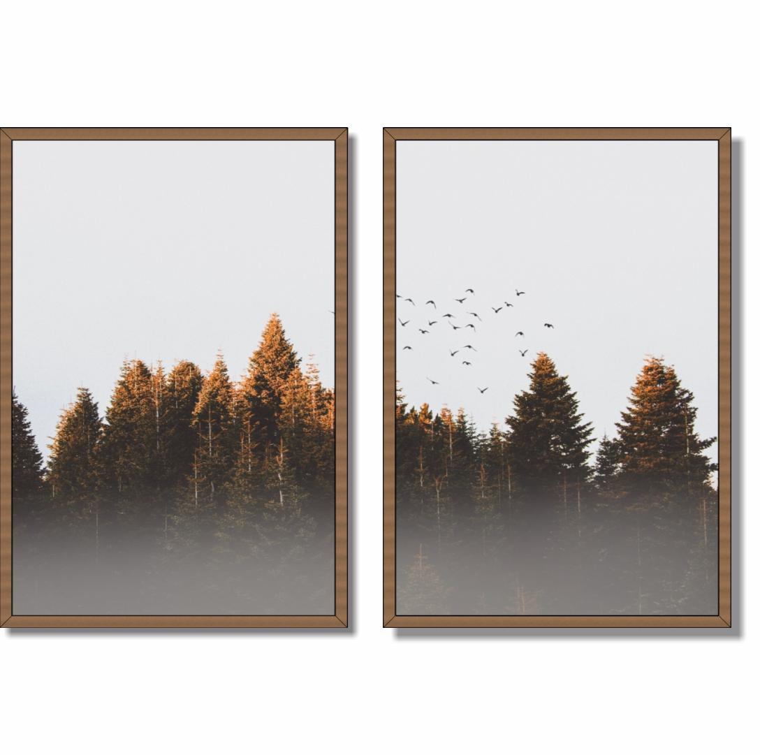 Composição com 2 Quadros Decorativos Paisagem com Pássaros