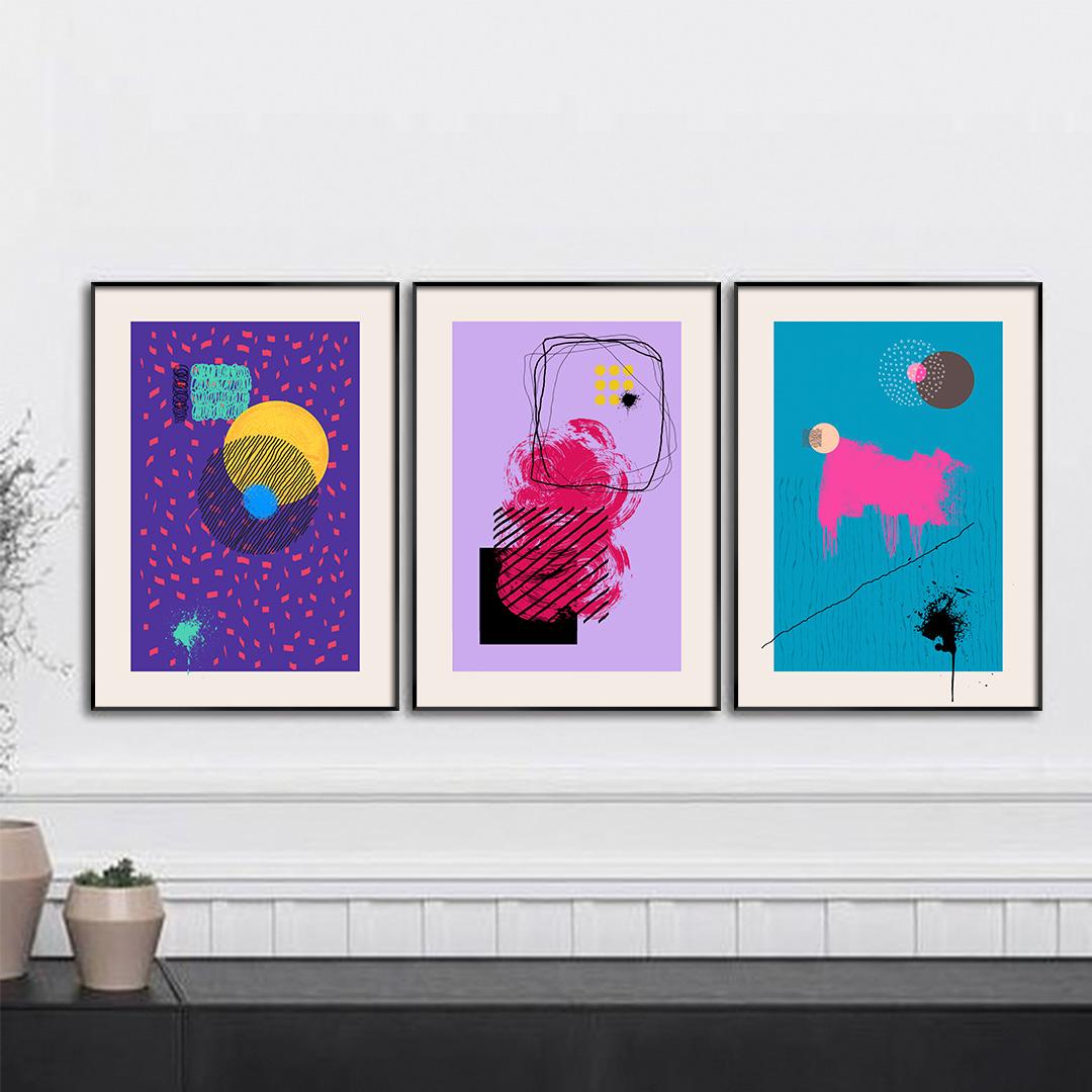 Composição com 3 Quadros Decorativos Abstratos Coloridos