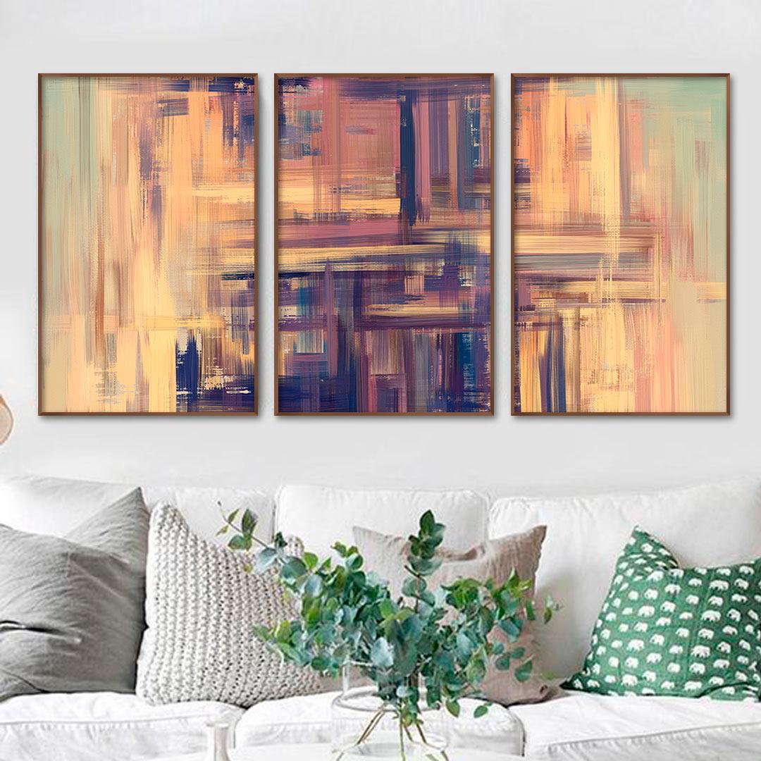 Composição com 3 Quadros Decorativos Abstratos com Pintura em Tons de Verde e Roxo