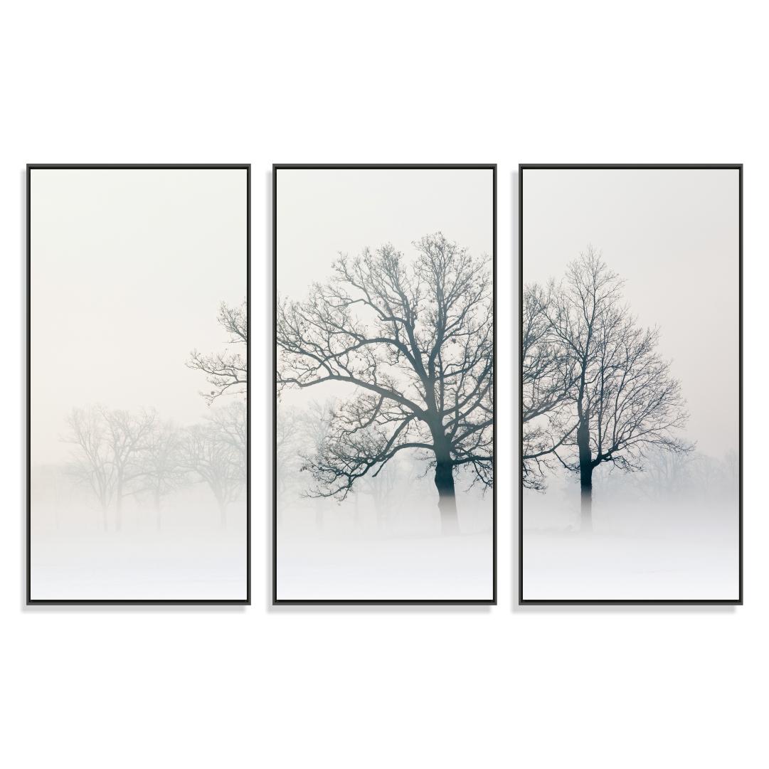 Composição com 3 Quadros Decorativos Árvore Preto e Branco