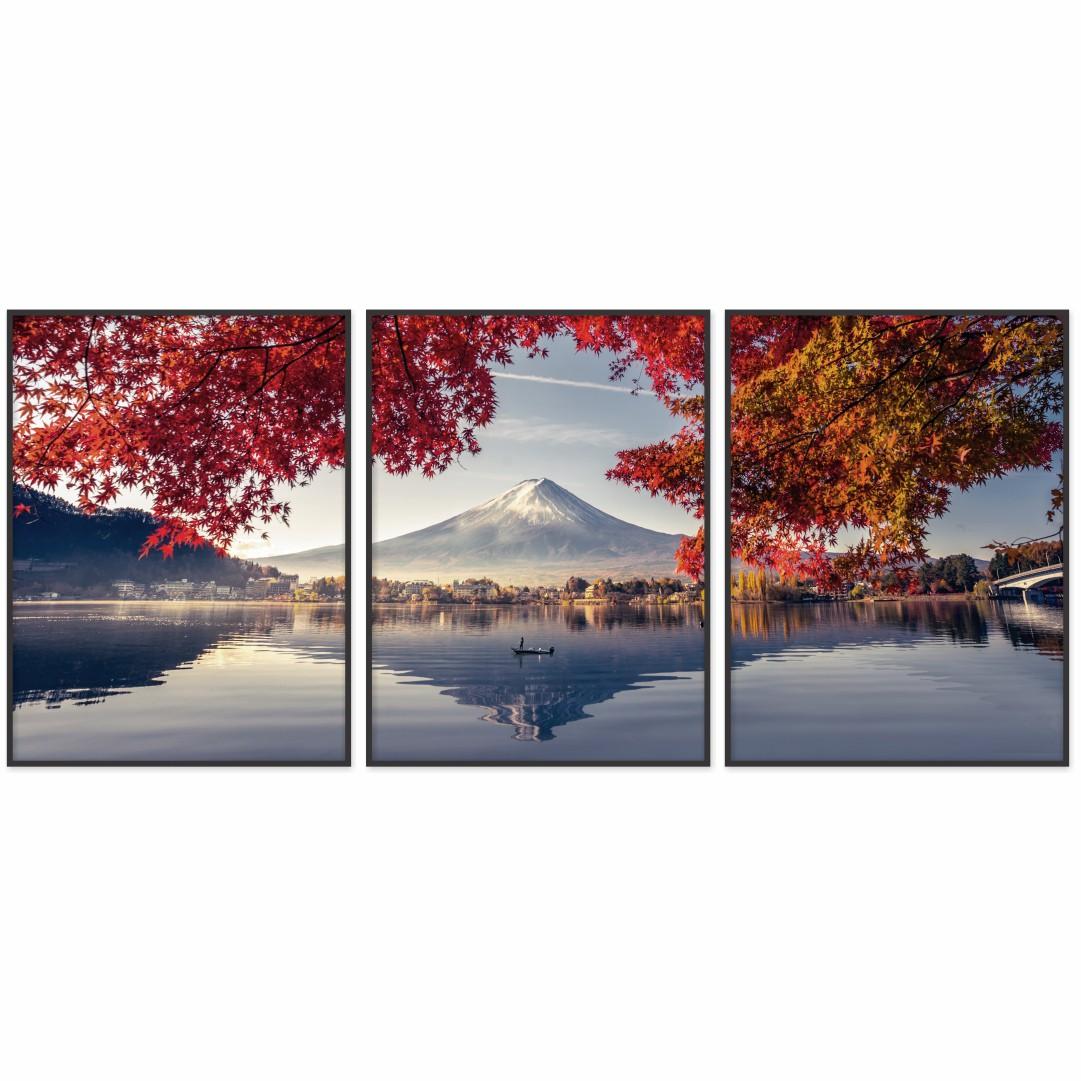 Composição com 3 Quadros Decorativos com Fotografia da Montanha Fuji e Lago Kawaguchiko no Japão
