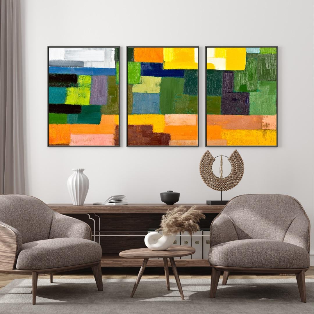 Composição com 3 Quadros Decorativos com Pintura Abstrata Colorida