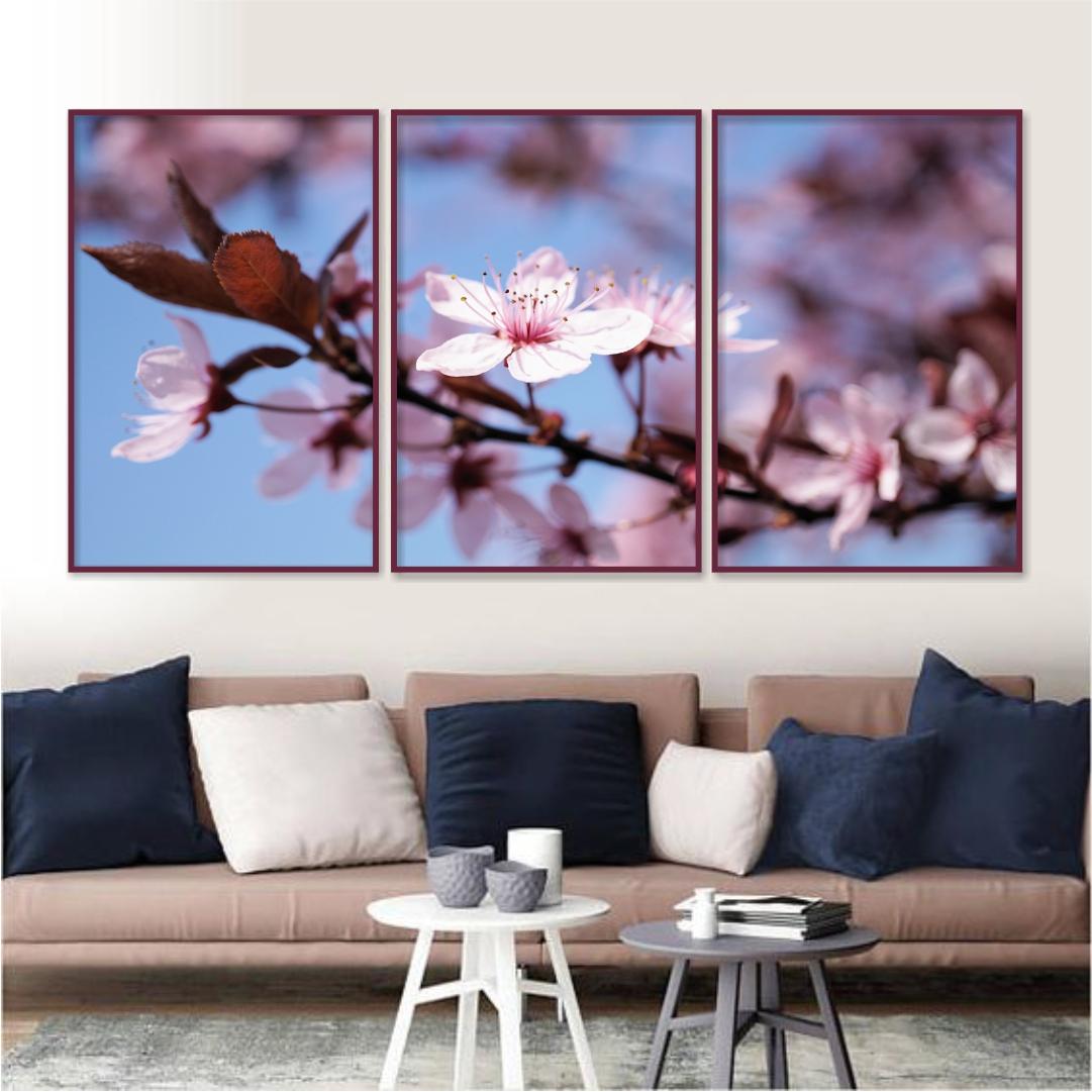 Composição com 3 Quadros Decorativos Flor de Cerejeira com Fundo Azul