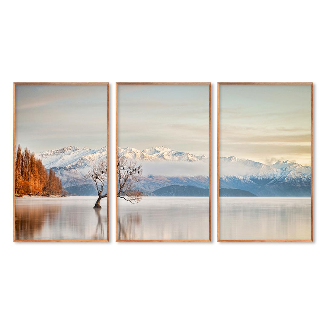 Composição com 3 Quadros Decorativos Imagem de Lago e Montanhas com Neve