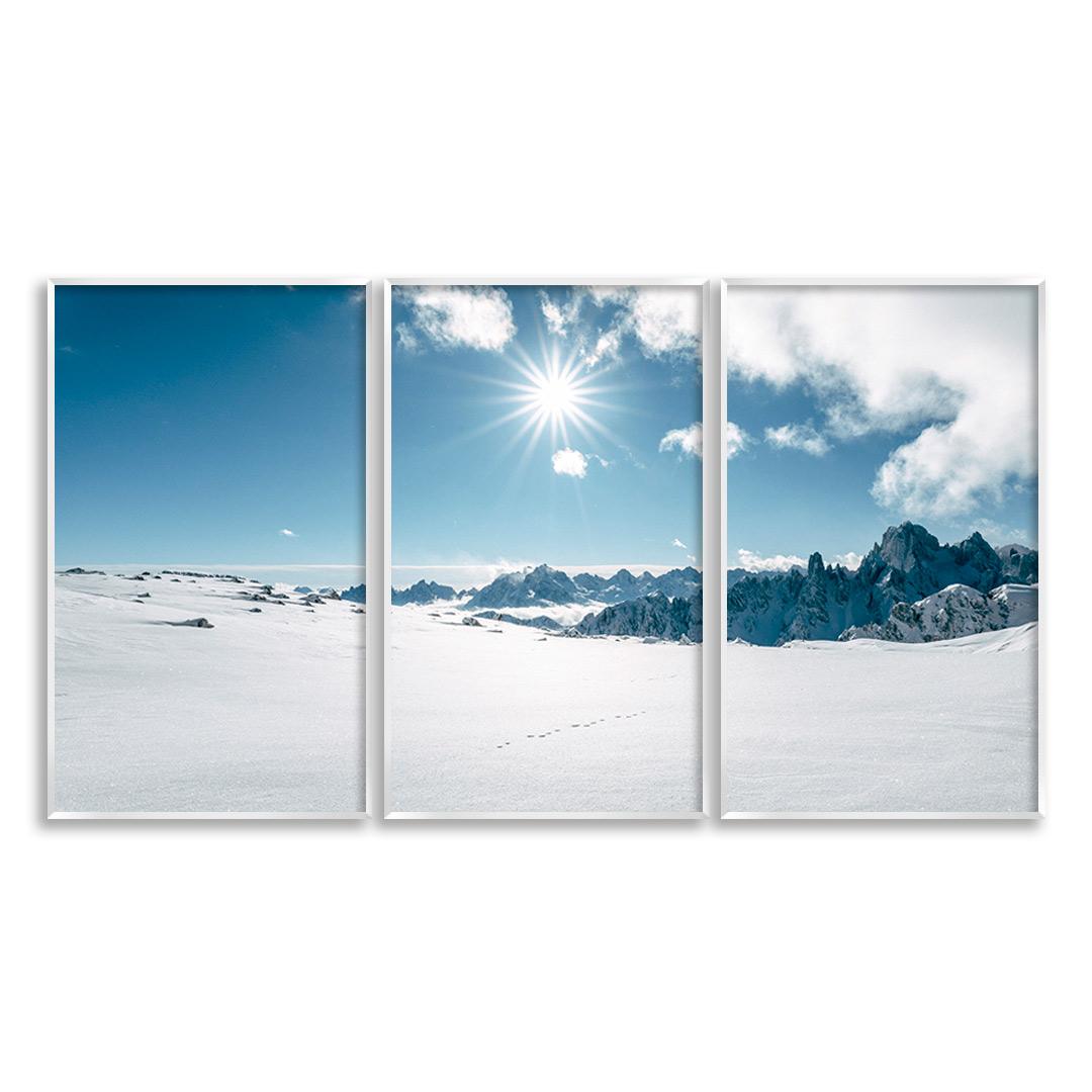Composição com 3 Quadros Decorativos com Fotografia de Montanhas com Neve