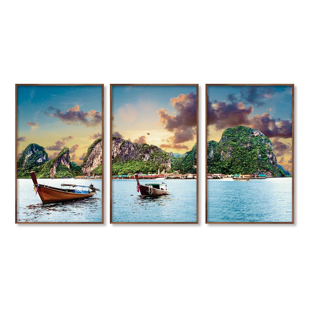 Composição com 3 Quadros Decorativos Paisagem Idílica de Praia da Tailândia