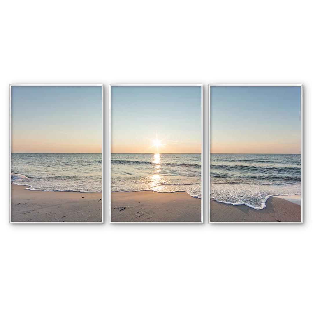 Composição com 3 Quadros Decorativos Pôr do Sol na Praia
